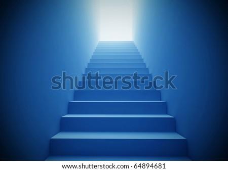 Blue Staircase - stock photo