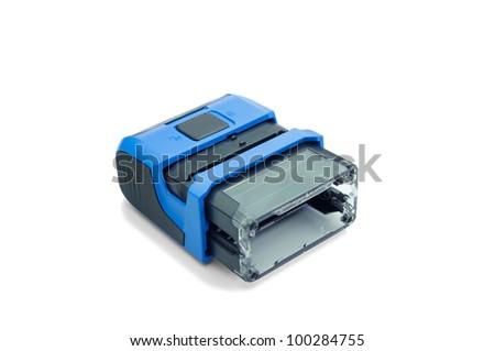 blue stamp - stock photo