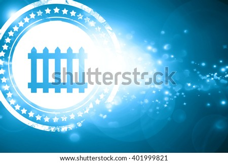 Blue stamp on a glittering background: Railway warning sign - stock photo