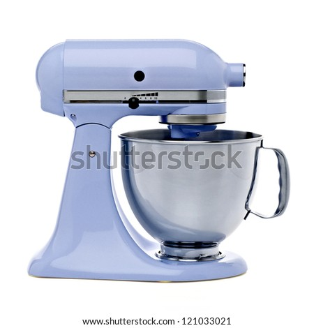 Blue stand mixer with clipping path - stock photo