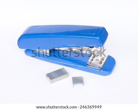 Blue Stapler with staples wires on white background. - stock photo