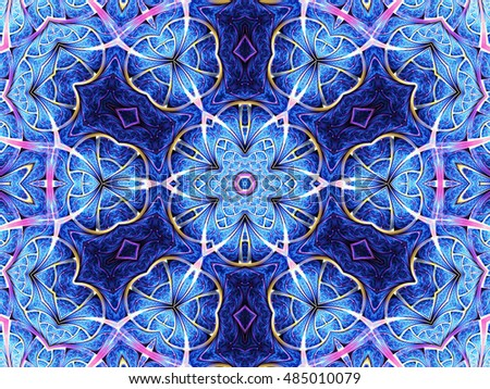Blue star and flower shaped fractal mandala, digital artwork for creative graphic design