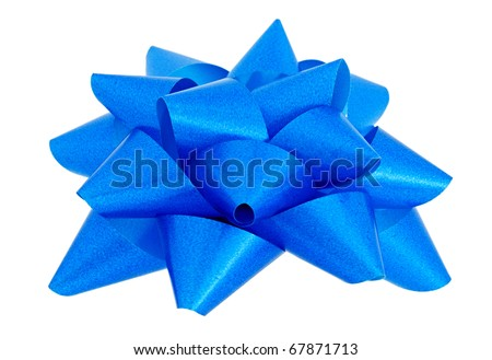 Blue star for decorating gifts on the white background