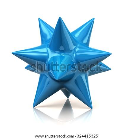Blue star isolated on white background - stock photo