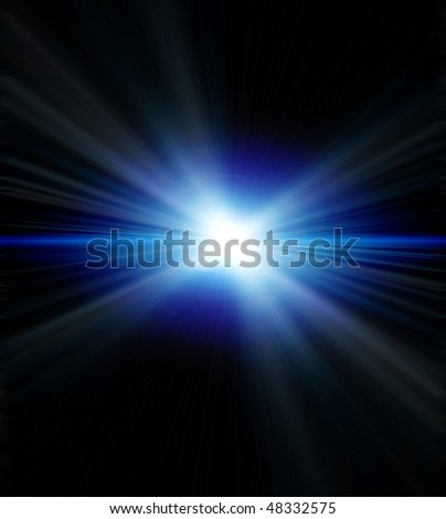 Blue star with rainbow halo - stock photo