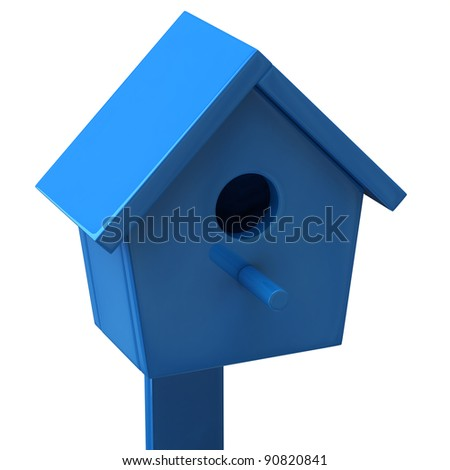 Blue starling house - stock photo