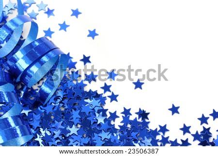 Blue stars confetti on white background - stock photo