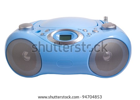 blue stereo CD mp3 radio  recorder isolated on white - stock photo