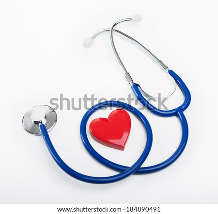 Blue stethoscope and heart shape, cardiovascular diseases and prevention concept. - stock photo