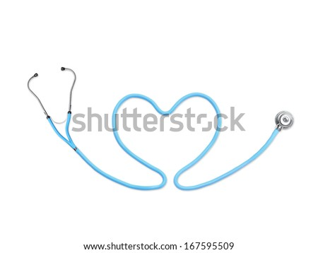 Blue stethoscope in the shape of heart on white background - stock photo