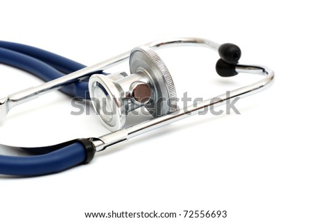 blue stethoscope isolated on a white background - stock photo