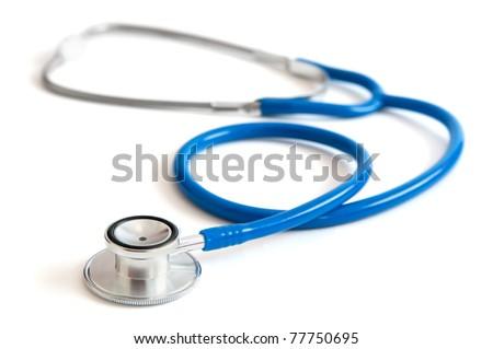 Blue stethoscope isolated on white - stock photo