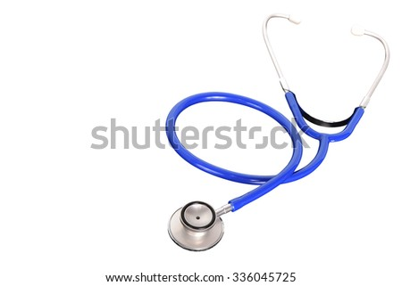 Blue stethoscope isolated on white background. This has clipping path. - stock photo