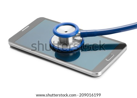 Blue stethoscope over smartphone screen - studio shoot - stock photo