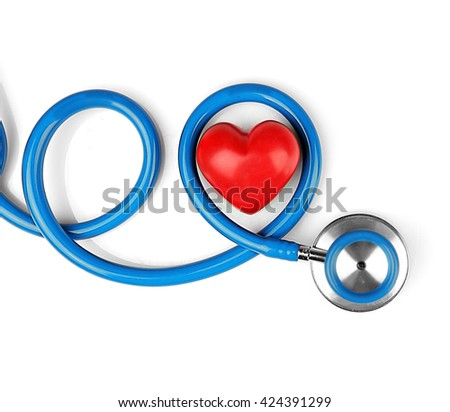 Blue stethoscope with heart isolated on white - stock photo