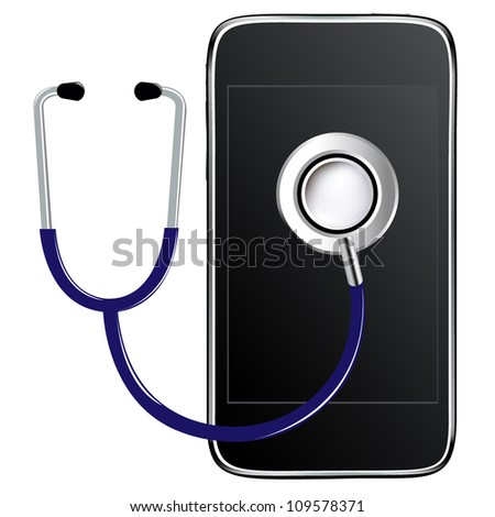 Blue Stethoscope With Mobile Phone, Isolated On White Background - stock photo