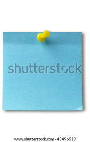 Blue sticker note with yellow pushpin isolated over white background (clipping path isolation) - stock photo