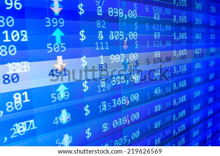 Blue stock market. Abstract technology background. Dollars table computer. Improvement of profit. Stock profit graph for diagram. Real time stock exchange. Dollars table computer. Copmputer screen.   - stock photo