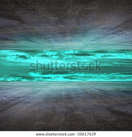 Blue storm front room - stock photo