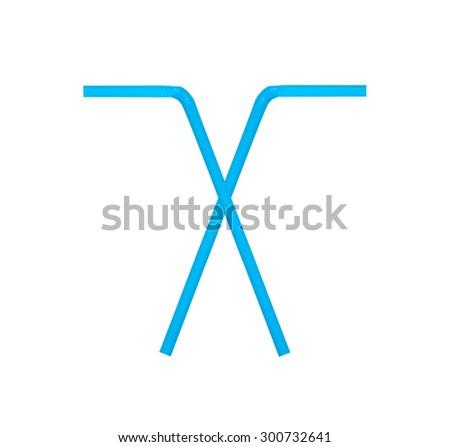 Blue straw drinking. - stock photo