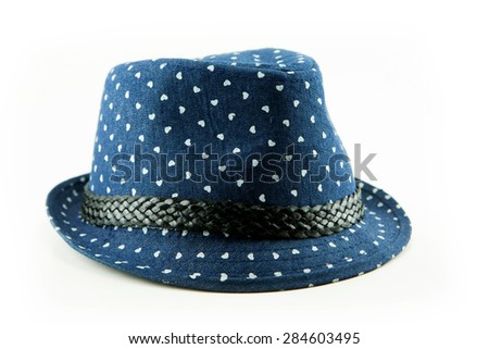 blue straw hat on white background - stock photo