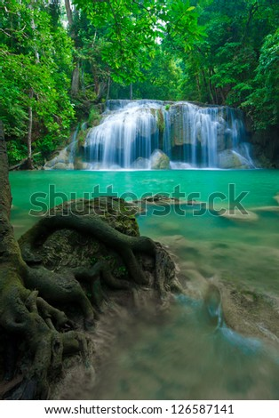 Blue stream waterfall at Erawan waterfall National Park Kanjanaburi Thailand