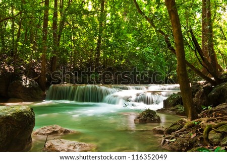 Blue stream waterfall in Kanjanaburi Thailand (Erawan waterfall national park)