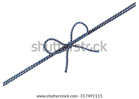 Blue string or twine tied in a bow isolated on white background for your design - stock photo
