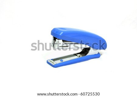 Blue strip stapler isolated on white background. - stock photo