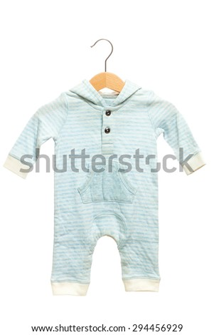 Blue stripe pattern baby clothes bodysuit have hood front view in clothes hanger, isolated on white background.