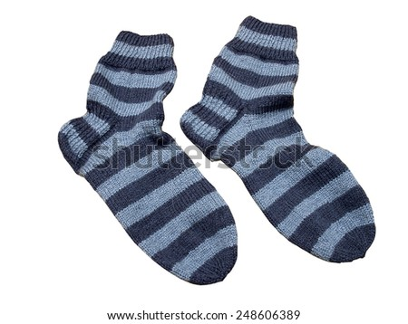 Blue striped knitted woolen socks isolated on white     - stock photo
