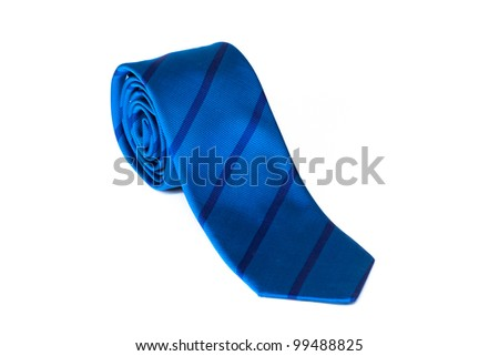 Blue striped male tie  rolled and isolated on white - stock photo