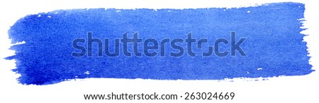 Blue stroke of gouache paint brush isolated on white - stock photo