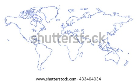 Blue stroke similar world map blank stock illustration 433404034 blue stroke similar world map blank for infographic isolated on white background gumiabroncs Image collections