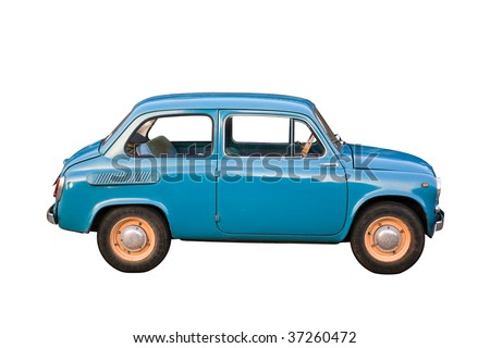Blue subcompact Soviet old-timer car isolated on white background - stock photo