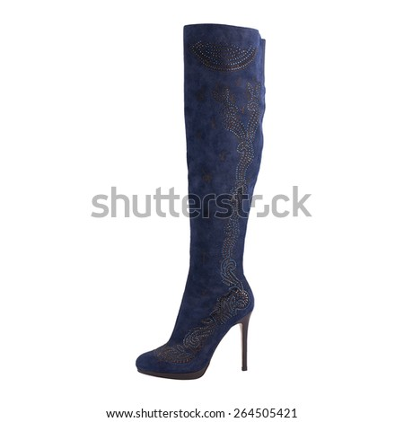 Blue suede boot isolated on white background - stock photo