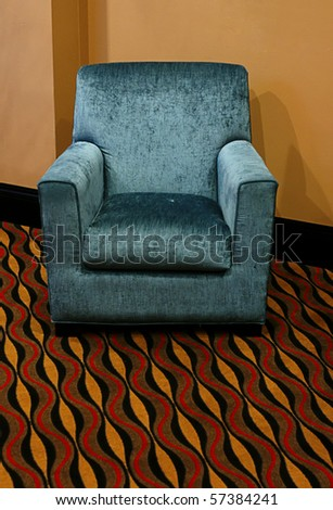 blue suede reclining chair - stock photo