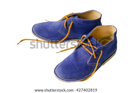 Blue suede shoes leather A shoestring yellow A suede classic style luxury Casual suede shoes on white background - stock photo