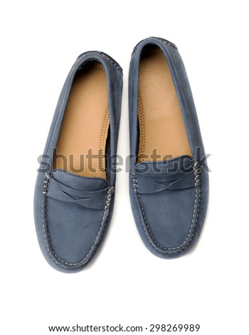 Blue suede shoes. Studio. View from above. Isolate on white. - stock photo