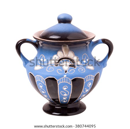 blue sugar bowl isolated on a white background.