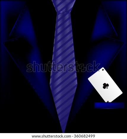 blue suit and ace - stock photo