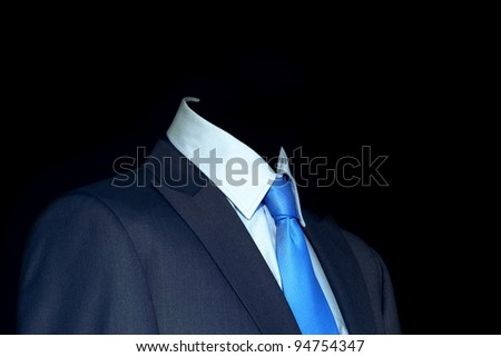 Blue suit and tie for businessman - stock photo