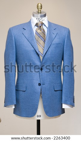 Blue suit on a dress stand