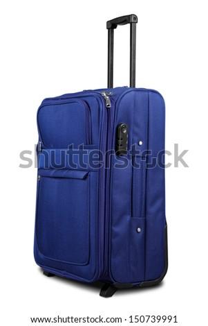 Blue Suitcase Isolated on White Background - stock photo