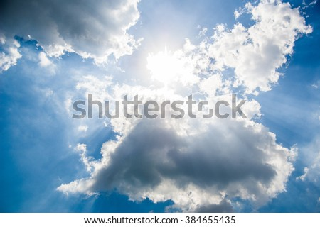 blue summer sky and white clouds. Partly cloudy. The sun. The summer sky - stock photo