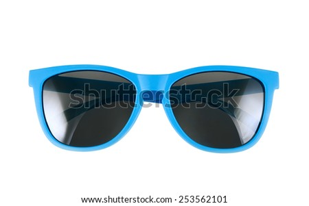 Blue sun glasses isolated over the white background - stock photo