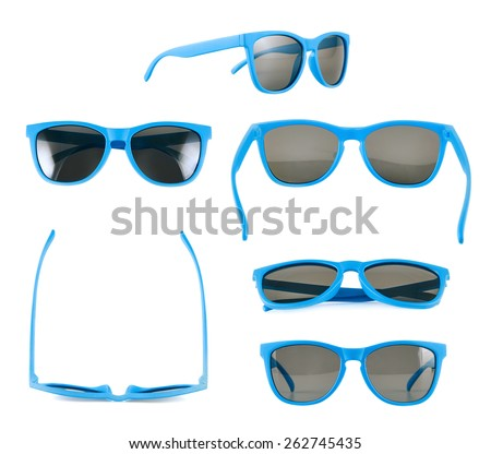 Blue sun glasses isolated over the white background, set of six different foreshortenings - stock photo