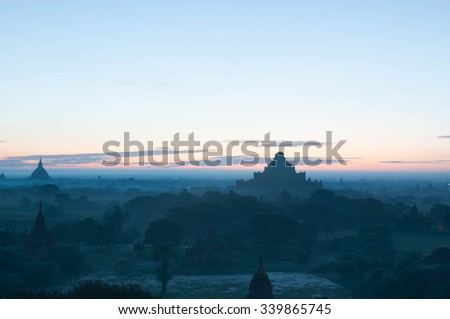 Blue sunrise misty temples