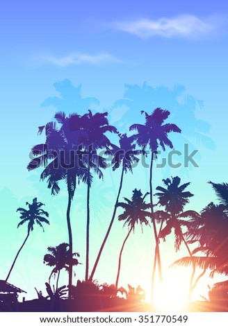 Blue sunrise palms silhouettes poster background - stock photo