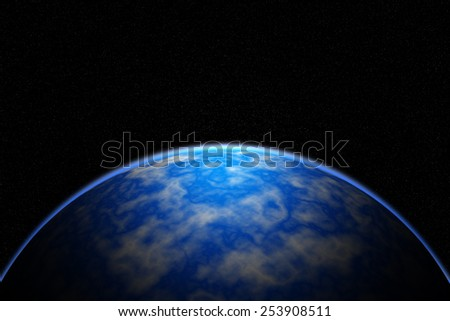 blue sunrise, view of earth from space ,  Elements of this image furnished by NASA - stock photo